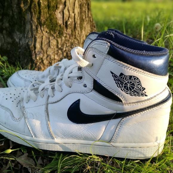 34c5e27489e Jordan Shoes | Air 1 Metallic Navy | Poshmark